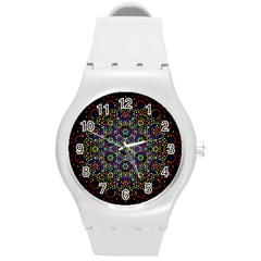 The Flower Of Life Round Plastic Sport Watch (m) by BangZart