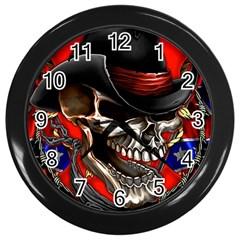 Confederate Flag Usa America United States Csa Civil War Rebel Dixie Military Poster Skull Wall Clocks (black)