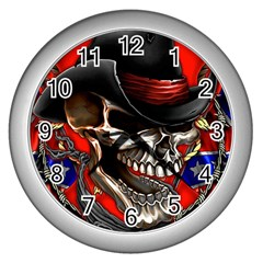 Confederate Flag Usa America United States Csa Civil War Rebel Dixie Military Poster Skull Wall Clocks (silver)