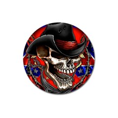 Confederate Flag Usa America United States Csa Civil War Rebel Dixie Military Poster Skull Magnet 3  (round) by BangZart