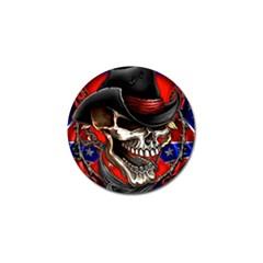 Confederate Flag Usa America United States Csa Civil War Rebel Dixie Military Poster Skull Golf Ball Marker by BangZart