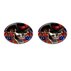 Confederate Flag Usa America United States Csa Civil War Rebel Dixie Military Poster Skull Cufflinks (oval) by BangZart