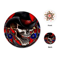 Confederate Flag Usa America United States Csa Civil War Rebel Dixie Military Poster Skull Playing Cards (round)