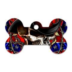 Confederate Flag Usa America United States Csa Civil War Rebel Dixie Military Poster Skull Dog Tag Bone (two Sides)