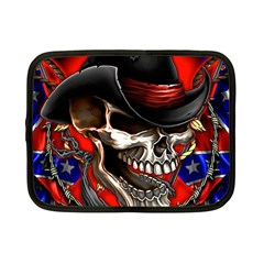 Confederate Flag Usa America United States Csa Civil War Rebel Dixie Military Poster Skull Netbook Case (small)