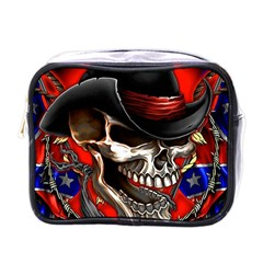 Confederate Flag Usa America United States Csa Civil War Rebel Dixie Military Poster Skull Mini Toiletries Bags