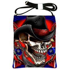 Confederate Flag Usa America United States Csa Civil War Rebel Dixie Military Poster Skull Shoulder Sling Bags by BangZart