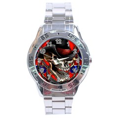Confederate Flag Usa America United States Csa Civil War Rebel Dixie Military Poster Skull Stainless Steel Analogue Watch