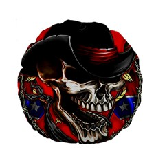 Confederate Flag Usa America United States Csa Civil War Rebel Dixie Military Poster Skull Standard 15  Premium Round Cushions