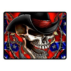Confederate Flag Usa America United States Csa Civil War Rebel Dixie Military Poster Skull Double Sided Fleece Blanket (small)
