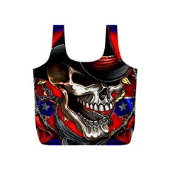 Confederate Flag Usa America United States Csa Civil War Rebel Dixie Military Poster Skull Full Print Recycle Bags (s)  by BangZart