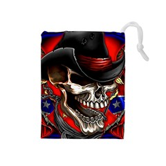 Confederate Flag Usa America United States Csa Civil War Rebel Dixie Military Poster Skull Drawstring Pouches (medium)  by BangZart