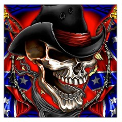 Confederate Flag Usa America United States Csa Civil War Rebel Dixie Military Poster Skull Large Satin Scarf (square)