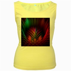 Colored Rays Symmetry Feather Art Women s Yellow Tank Top