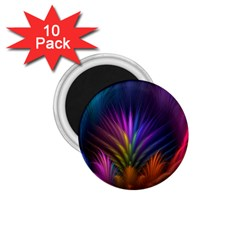 Colored Rays Symmetry Feather Art 1 75  Magnets (10 Pack)