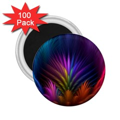 Colored Rays Symmetry Feather Art 2 25  Magnets (100 Pack)