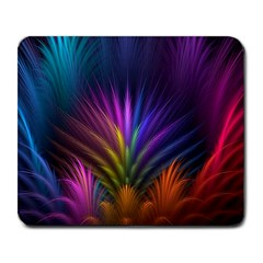 Colored Rays Symmetry Feather Art Large Mousepads