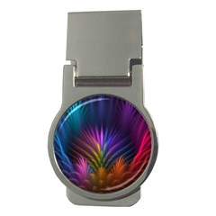 Colored Rays Symmetry Feather Art Money Clips (round)