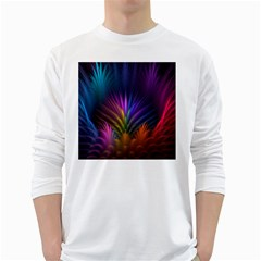 Colored Rays Symmetry Feather Art White Long Sleeve T Shirts