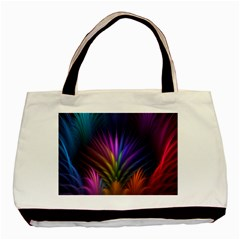 Colored Rays Symmetry Feather Art Basic Tote Bag