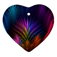 Colored Rays Symmetry Feather Art Heart Ornament (two Sides)
