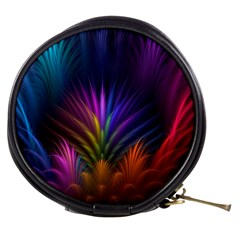 Colored Rays Symmetry Feather Art Mini Makeup Bags