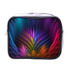 Colored Rays Symmetry Feather Art Mini Toiletries Bags by BangZart