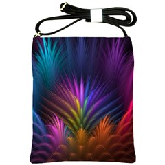 Colored Rays Symmetry Feather Art Shoulder Sling Bags