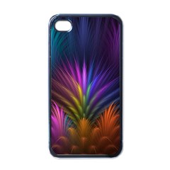 Colored Rays Symmetry Feather Art Apple Iphone 4 Case (black)