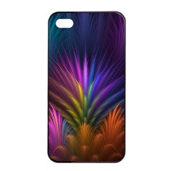 Colored Rays Symmetry Feather Art Apple Iphone 4/4s Seamless Case (black) by BangZart