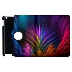 Colored Rays Symmetry Feather Art Apple Ipad 3/4 Flip 360 Case