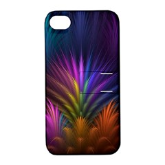 Colored Rays Symmetry Feather Art Apple Iphone 4/4s Hardshell Case With Stand