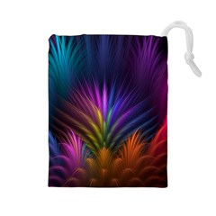 Colored Rays Symmetry Feather Art Drawstring Pouches (large)