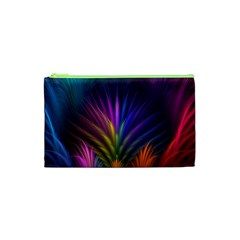 Colored Rays Symmetry Feather Art Cosmetic Bag (xs) by BangZart