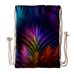 Colored Rays Symmetry Feather Art Drawstring Bag (large)
