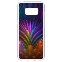 Colored Rays Symmetry Feather Art Samsung Galaxy S8 White Seamless Case by BangZart