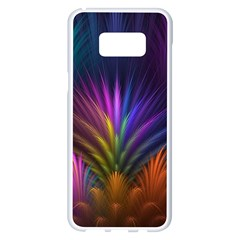 Colored Rays Symmetry Feather Art Samsung Galaxy S8 Plus White Seamless Case