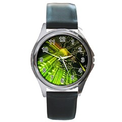 Electronics Machine Technology Circuit Electronic Computer Technics Detail Psychedelic Abstract Patt Round Metal Watch