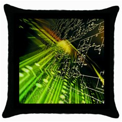 Electronics Machine Technology Circuit Electronic Computer Technics Detail Psychedelic Abstract Patt Throw Pillow Case (black)