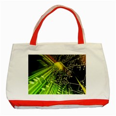 Electronics Machine Technology Circuit Electronic Computer Technics Detail Psychedelic Abstract Patt Classic Tote Bag (red) by BangZart