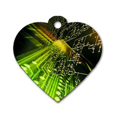 Electronics Machine Technology Circuit Electronic Computer Technics Detail Psychedelic Abstract Patt Dog Tag Heart (two Sides)