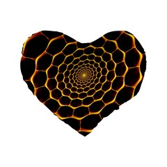 Honeycomb Art Standard 16  Premium Flano Heart Shape Cushions