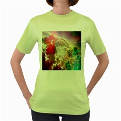 Clouds Multicolor Fantasy Art Skies Women s Green T Shirt