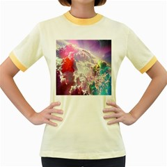 Clouds Multicolor Fantasy Art Skies Women s Fitted Ringer T Shirts