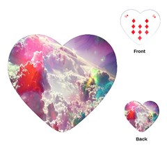 Clouds Multicolor Fantasy Art Skies Playing Cards (heart)