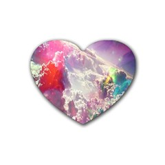 Clouds Multicolor Fantasy Art Skies Heart Coaster (4 Pack)