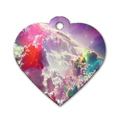 Clouds Multicolor Fantasy Art Skies Dog Tag Heart (two Sides)