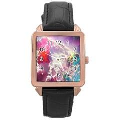 Clouds Multicolor Fantasy Art Skies Rose Gold Leather Watch