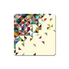 Retro Pattern Of Geometric Shapes Square Magnet