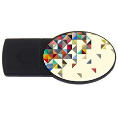 Retro Pattern Of Geometric Shapes Usb Flash Drive Oval (2 Gb) by BangZart